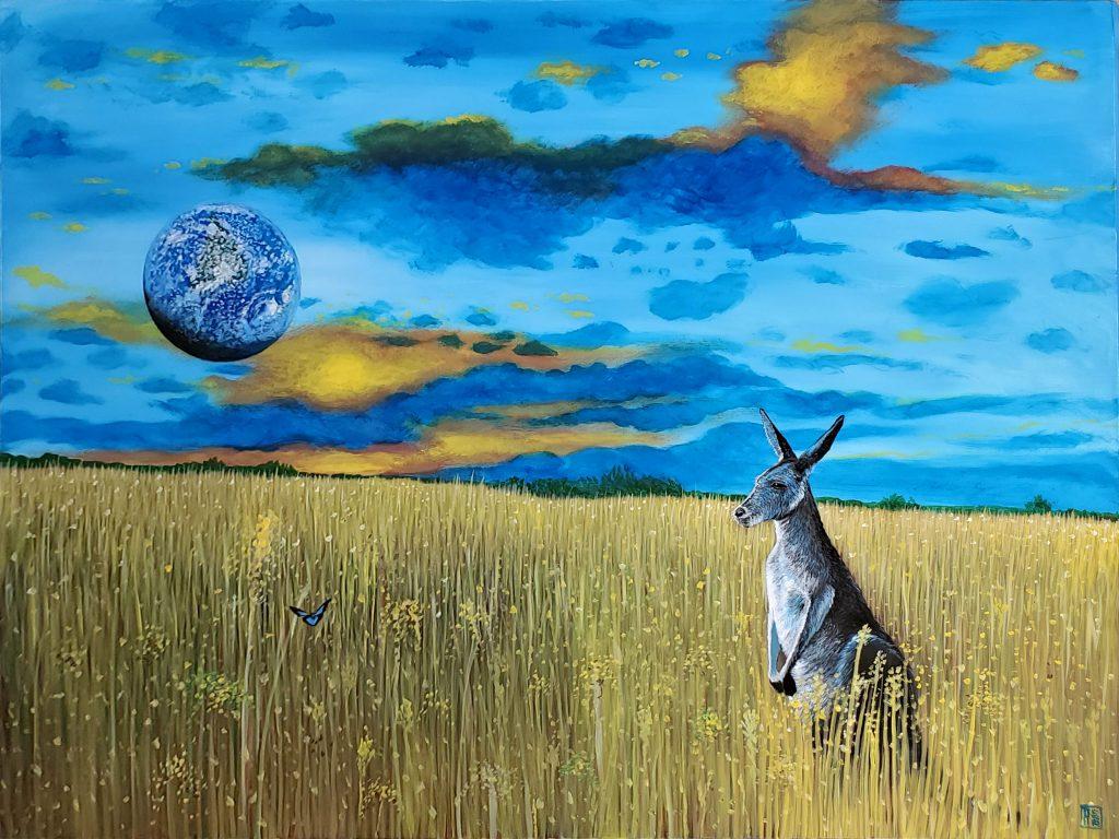 """'Earth Consciousness' © 2020 Carlos Aleman 40"""" x 30"""" Acrylic on Canvas"""